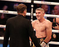 9th October 2021; M&S Bank Arena, Liverpool, England; Matchroom Boxing, Liam Smith versus Anthony Fowler; LIAM SMITH (Liverpool, England)speaks with promoter Eddie Hearn after his win over ANTHONY FOWLER (Liverpool, England)  for the WBA International Super-Welterweight Title