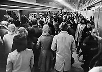 Caught in the crunch: Bloor-Yonge subway junction; above; is described by transit rider as horrible clash of hundreds of people trying to move in different directions at the same time in a small area.<br /> <br /> Photo : Boris Spremo - Toronto Star archives - AQP