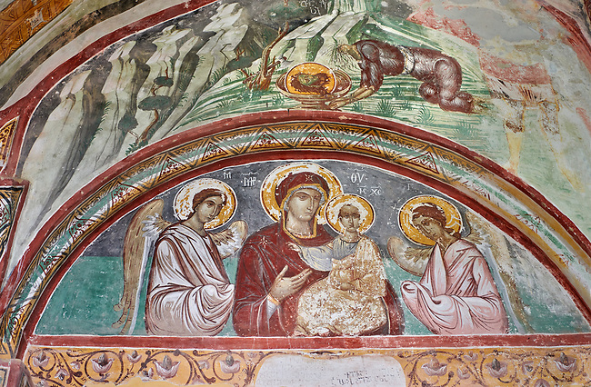 Pictures & images of the Byzantine tympanum fresco of Theotokos, depicting the Virgin Mary, the  Mother of God, and child, 1126-1130, in the apse of the Gelati Georgian Orthodox Church of the Virgin, 1106. The medieval Gelati monastic complex near Kutaisi in the Imereti region of western Georgia (country). A UNESCO World Heritage Site.