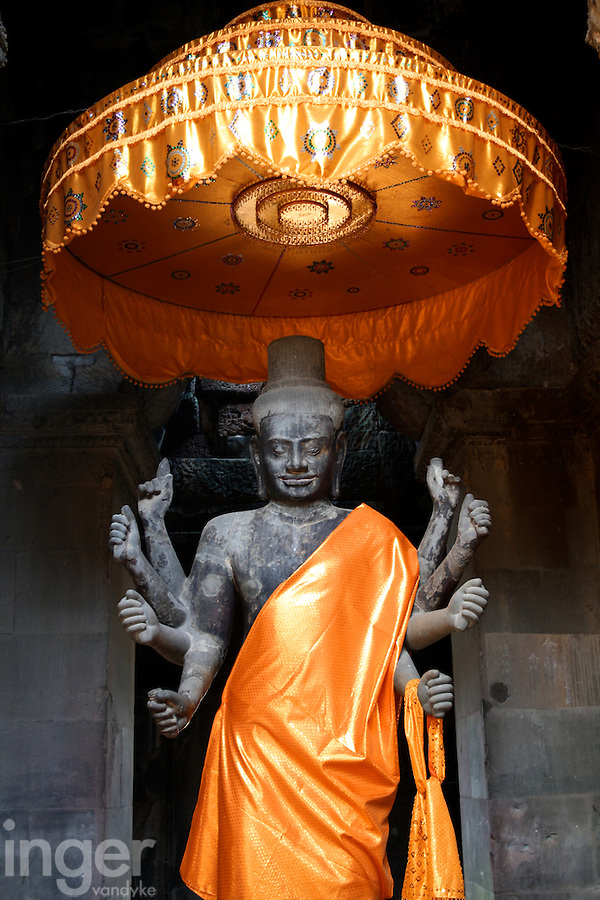 Buddhist statue inside Angkor Wat, Cambodia