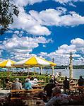 Deutschland, Bayern, Oberbayern, Starnberger See, Starnberg: Cafe, Biergarten direkt am See   Germany, Bavaria, Upper Bavaria, Lake Starnberg, Starnberg: cafe, beer garden