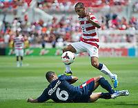 SANDY, UT - July 13, 2013: US Mens National Team defender Edgar Castillo (2) during the USA vs Cuba match at Rio Tinto Stadium in Sandy, Utah. Final score USA 4, Cuba 1.