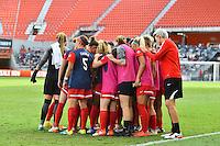 Houston, TX - Sunday Oct. 09, 2016: Washington Spirit huddle during the National Women's Soccer League (NWSL) Championship match between the Washington Spirit and the Western New York Flash at BBVA Compass Stadium.