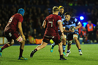 Macauley Cook of Cardiff Blues in action during the Guinness Pro14 Round 4 match between Cardiff Blues and Munster Rugby at the Cardiff Arms Park Stadium  in Cardiff, Wales, UK. Friday 21 September 2018