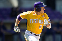 LSU Tigers first base Mason Katz #8 runs to first base against the Auburn Tigers in the NCAA baseball game on March 24, 2013 at Alex Box Stadium in Baton Rouge, Louisiana. LSU defeated Auburn 5-1. (Andrew Woolley/Four Seam Images).