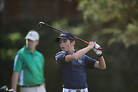 Logan Daugherty, with Bentonville West High School, tees off on the first hole of play Tuesday, August 18, 2020, during the Springdale Bulldog Invitational boys golf tournament at the Springdale Country Club. Check out nwaonline.com/200819Daily/ and nwadg.com/photos for a photo gallery.<br /> (NWA Democrat-Gazette/David Gottschalk)