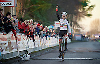 race winner Mathieu Van der Poel (NLD/BKCP-Powerplus) crossing the finish line<br /> <br /> CX Leuven Soudal Classic 2015
