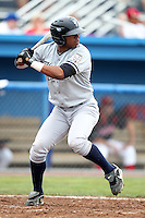 Staten Island Yankees Angelo Gumbs #21 during a game against the Batavia Muckdogs at Dwyer Stadium on July 28, 2011 in Batavia, New York.  Batavia defeated Staten Island 4-3.  (Mike Janes/Four Seam Images)