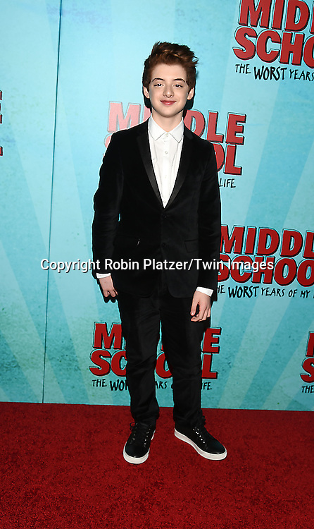 """actor Thomas Barbusca attends the """"Middle School: The Worst Years of My Life"""" New York Screening on October 1, 2016 at the Regal E-Walk in New York, New York, USA.<br /> <br /> photo by Robin Platzer/Twin Images<br />  <br /> phone number 212-935-0770"""