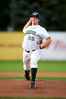 Jamestown Jammers pitcher Ryan Newell #25 during the second game of a doubleheader against the State College Spikes at Russell Diethrick Park on August 30, 2012 in Jamestown, New York.  Jamestown defeated State College 2-1.  (Mike Janes/Four Seam Images)