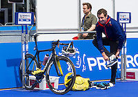 31 MAY 2014 - LONDON, GBR - Alistair Brownlee (GBR)  (ENG) of Great Britain and England prepares in transition before the start of  the elite men's 2014 ITU World Triathlon Series round  in Hyde Park, London, Great Britain (PHOTO COPYRIGHT © 2014 NIGEL FARROW, ALL RIGHTS RESERVED)