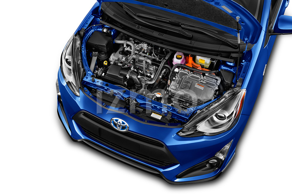 Car Stock 2017 Toyota Prius-c Four 5 Door Hatchback Engine  high angle detail view