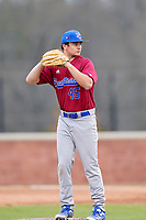 Pitcher Darien Rorabeck (45) of the Presbyterian College Blue Hose in a game against the University of South Carolina Upstate Spartans on Tuesday, March 23, 2021, at Cleveland S. Harley Park in Spartanburg, South Carolina. (Tom Priddy/Four Seam Images)