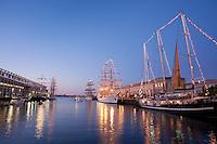 Libertad, Mircea , Sagres, Capitan Miranda, Tall Ships,evening, Boston Harbor, Boston, MA,