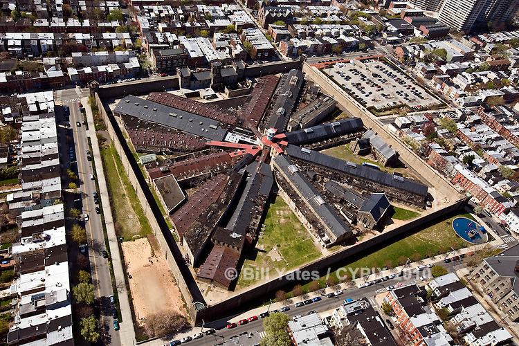 Eastern State Penitentiary Philadelphia PA helicopter aerial