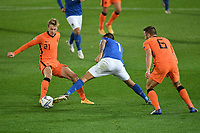 Frenkie De Jong of Netherlands  and Lorenzo Pellegrini of Italy during the Uefa Nation League Group Stage A1 football match between Italy and Netherlands at Atleti azzurri d Italia Stadium in Bergamo (Italy), October, 14, 2020. Photo Andrea Staccioli / Insidefoto