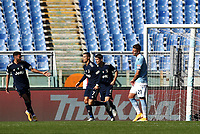 Football, Serie A: S.S. Lazio - Juventus Olympic stadium, Rome, November 8, 2020. <br /> Juventus' Cristiano Ronaldo (second left) celebrates after scoring with his teammates during the Italian Serie A football match between Lazio and Juventus at Olympic stadium in Rome, on November 8, 2020.<br /> UPDATE IMAGES PRESS/Isabella Bonotto
