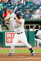Anthony Gomez (2) of the Greensboro Grasshoppers at bat against the Charleston RiverDogs at NewBridge Bank Park on July 17, 2013 in Greensboro, North Carolina.  The Grasshoppers defeated the RiverDogs 4-3.  (Brian Westerholt/Four Seam Images)