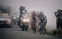 Thomas de Gendt (BEL/Lotto-Soudal) & Cyril Gautier (FRA/AG2R-La Mondiale) up the Port de Balès (HC/1755m/11.7km/7.7%)<br /> <br /> 104th Tour de France 2017<br /> Stage 12 - Pau › Peyragudes (214km)