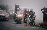 Thomas de Gendt (BEL/Lotto-Soudal) & Cyril Gautier (FRA/AG2R-La Mondiale) up the Port de Balès (HC/1755m/11.7km/7.7%)<br /> <br /> 104th Tour de France 2017<br /> Stage 12 - Pau › Peyragudes (214km)