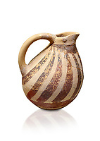Minoan Kamares Ware ewer jug with  polychrome decorations, Phaistos Palace 1800-1600 BC; Heraklion Archaeological  Museum, white background.<br /> <br /> This style of pottery is named afetr Kamares cave where this style of pottery was first found