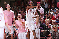 16 February 2008: Stanford Cardinal (L-R) Ashley Cimino, Hannah Donaghe, Candice Wiggins, and Kate Paye during Stanford's 79-57 win against the Arizona State Sun Devils at Maples Pavilion in Stanford, CA.