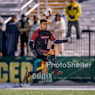 13 November 2019: University of Hartford Hawk Backfielder Nick Benjamin, a Sophomore from Stonington, CT, in action against the University of Vermont Catamounts at Virtue Field in Burlington, Vermont. The Hawks defeated the Catamounts 3-2 in sudden death overtime of the Division 1 Men's Soccer America East matchup. Mandatory Credit: Ed Wolfstein Photo *** RAW (NEF) Image File Available ***