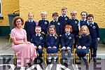 Alison Coffey Principal of Loughquittane NS Killarney with her junior infants on Tuesday front row l-r: James Doody, Ava Considine, Maria Sheahan, Molly Moriarty. Back row: Caoimhe Kennelly, Ronan Carey, Charlie Keane, Fionn Mulligan, Gary Arthur, Sive Kenny and Sean Óg Pierce