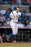 Allan Dykstra (35) of the Durham Bulls follows through on his swing against the Scranton/Wilkes-Barre RailRiders at Durham Bulls Athletic Park on May 15, 2015 in Durham, North Carolina.  The RailRiders defeated the Bulls 8-4 in 11 innings.  (Brian Westerholt/Four Seam Images)