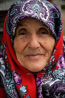 Old woman in headscarf, Istanbul, Turkey
