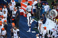 SANTA CLARA, CA - FEBRUARY 7:  Peyton Manning of the Denver Broncos stretches on the sidelines against the Carolina Panthers during Super Bowl 50 at Levi's Stadium in Santa Clara, California on February 7, 2016. (Photo by Brad Mangin)