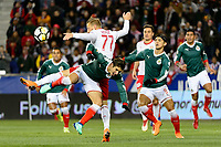 Harrison, NJ - Tuesday April 10, 2018: Danny Royer, Carlos Cisneros during leg two of a  CONCACAF Champions League semi-final match between the New York Red Bulls and C. D. Guadalajara at Red Bull Arena. C. D. Guadalajara defeated the New York Red Bulls 0-0 (1-0 on aggregate).