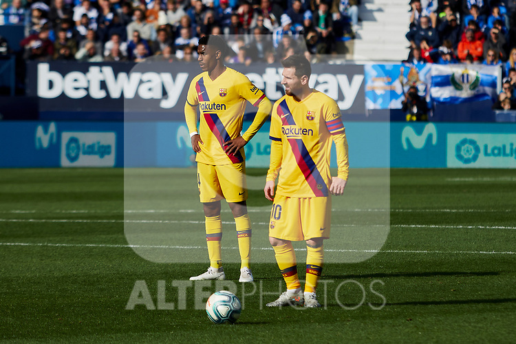 Lionel Messi of FC Barcelona during La Liga match between CD Leganes and FC Barcelona at Butarque Stadium in Leganes, Spain. November 23, 2019. (ALTERPHOTOS/A. Perez Meca)