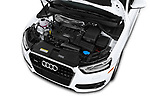Car stock 2015 Audi Q3 Premium Plus 5 Door SUV engine high angle detail view