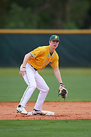 North Dakota State Bison infielder Charley Hesse (4) during warmups before a game against the Central Connecticut State Blue Devils on February 23, 2018 at North Charlotte Regional Park in Port Charlotte, Florida.  North Dakota State defeated Connecticut State 2-0.  (Mike Janes/Four Seam Images)