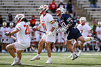 College Park, MD - February 15, 2020: Penn Quakers attack Dylan Gergar (40) shoots the ball during the game between Penn and Maryland at  Capital One Field at Maryland Stadium in College Park, MD.  (Photo by Elliott Brown/Media Images International)
