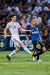 Bayern Munich Forward Robert Lewandowski (L) plays against FC Internazionale Defender Joao Miranda (R) during the International Champions Cup match between FC Bayern and FC Internazionale at National Stadium on July 27, 2017 in Singapore. Photo by Marcio Rodrigo Machado / Power Sport Images