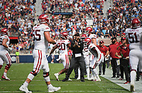 Arkansas offensive coordinator Kendal Briles reacts, Saturday, October 9, 2021 during the third quarter of a football game at Vaught Hemingway Stadium in Oxford, Miss. Check out nwaonline.com/211010Daily/ for today's photo gallery. <br /> (NWA Democrat-Gazette/Charlie Kaijo)