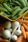 spring carrotts, onions, snap peas
