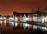 Night Photo of Bruges, Belgium Waterway