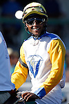 ARLINGTON HEIGHTS, IL - AUGUST 13: Patrick Husbands, aboard Danish Dynaformer #1, smiles during the post parade before Arlington Million at Arlington International Racecourse on August 13, 2016 in Arlington Heights, Illinois. (Photo by Jon Durr/Eclipse Sportswire/Getty Images)