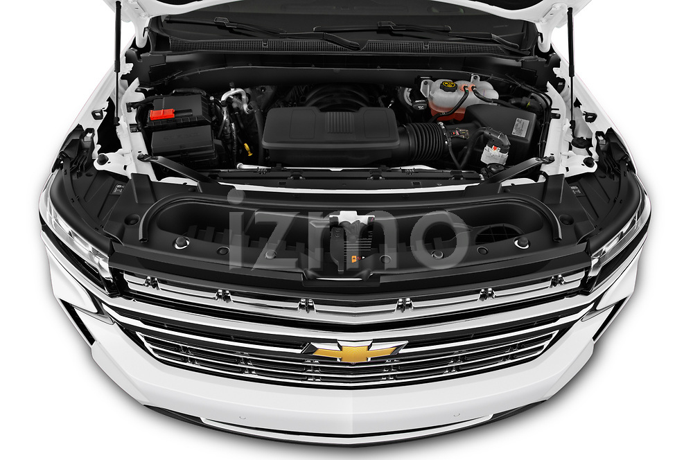 High angle engine detail of a 2021 Chevrolet Tahoe Premier 5 Door SUV