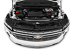 Car Stock 2021 Chevrolet Tahoe Premier 5 Door SUV Engine  high angle detail view