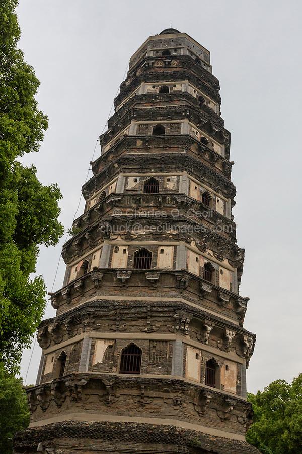 Suzhou, Jiangsu, China.  Yunyan Pagoda, a Leaning Pagoda on top of Tiger Hill.
