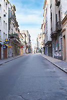 A view of the street 25 Mayo 25th of May in the Old Town Ciudad Vieja. Montevideo, Uruguay, South America
