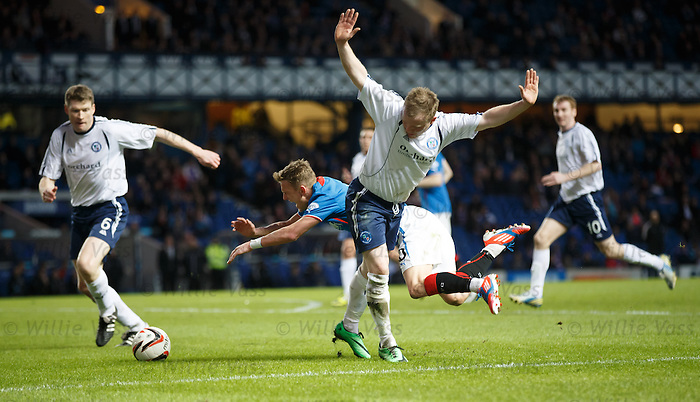 Dean Shiels falls in the box under pressure from Mark Baxter but ref Craig Charleston calls it a dive