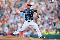 Jacksonville Jumbo Shrimp starting pitcher Merandy Gonzalez (38) delivers a pitch during a game against the Mobile BayBears on April 14, 2018 at Baseball Grounds of Jacksonville in Jacksonville, Florida.  Mobile defeated Jacksonville 13-3.  (Mike Janes/Four Seam Images)