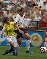 Abby Wambach v Janaina.US Women's National Team vs Brazil at Legion Field in Birmingham, Alabama.