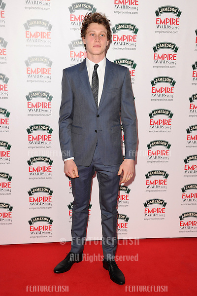 George MacKay<br /> arives for the Empire Magazine Film Awards 2014 at the Grosvenor House Hotel, London. 30/03/2014 Picture by: Steve Vas / Featureflash