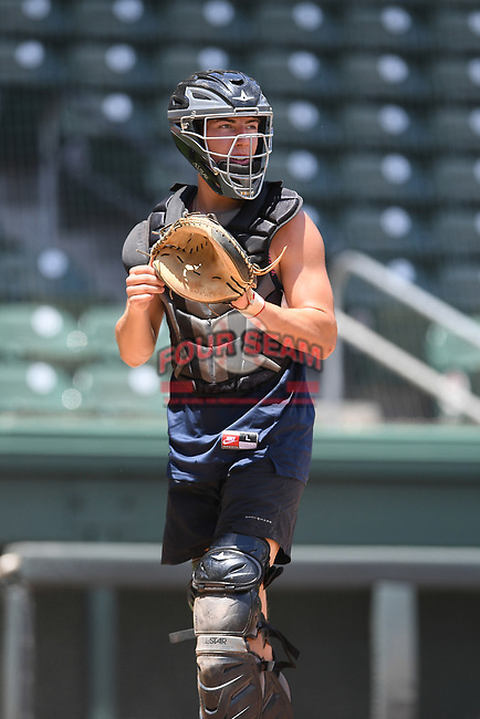"""Photo from a """"Sandlot""""-style game during the coronavirus shutdown with local Major League and Minor League players from around the Upstate region on Thursday June 25, 2020, at Fluor Field at the West End in Greenville, South Carolina. (Tom Priddy/Four Seam Images)"""